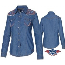 Westernová košile dámská denim s výšivkou dl.rukáv