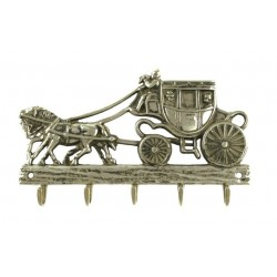 Věšák na klíče kočár s koňmi mosazné a pěti háčky