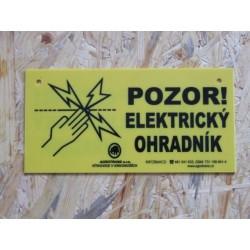 """Výstražná cedulka,,Pozor elektrický ohradník!"""""""