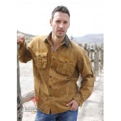 Košile Scippis canvas s límečkem z pravé kůže