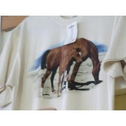 Tričko s motivy koní dospělé Fruit of The Loom