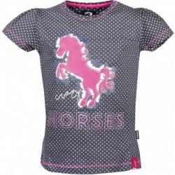 Tričko dívčí výšivka koně 95%ba 5%lycra