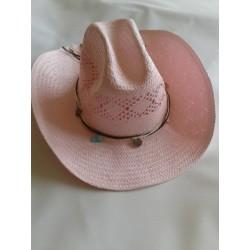 Klobouk dámský slamáček zdobený růžový doprodej