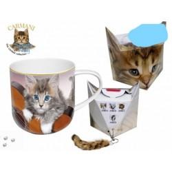 Hrnek porcelán s motivy koček a klíčenkou v krabičce