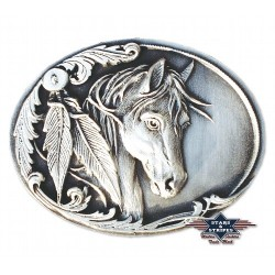 Westernová přezka na opasek hlava koně pírka originál